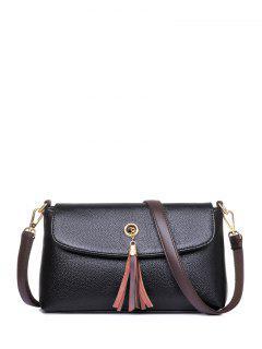 PU Leather Eyelet Tassel Shoulder Bag - Black