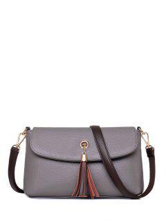 PU Leather Eyelet Tassel Shoulder Bag - Gray