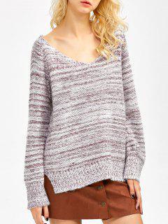 Side Slit Heathered Sweater - Burgundy