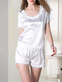 Ensemble Pyjama En Satin Haut Avec Col Rond Et Short - Blanc M