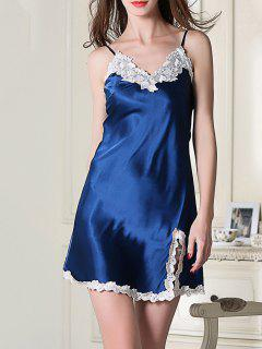 Lace Trimmed Satin Slip Sleep Dress - Royal Blue L