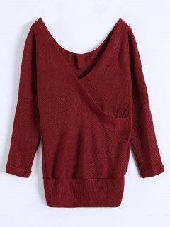 V Neck Cozy Sweater - Burgundy M