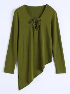 Long Sleeves Asymmetric Hem Tee - Army Green Xl