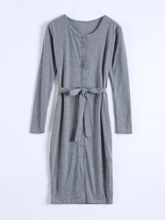 Single-Breasted Belted Bodycon Dress - Gray S