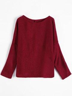 Slash Neck Pullover Sweater - Burgundy M