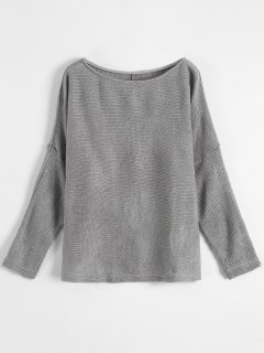 Slash Neck Pullover Sweater - Gray S