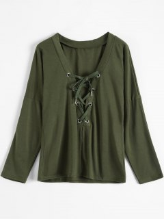Long Sleeves Lace Up Plunge Tee - Army Green S