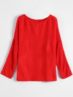 Slash Neck Pullover Sweater - Red M