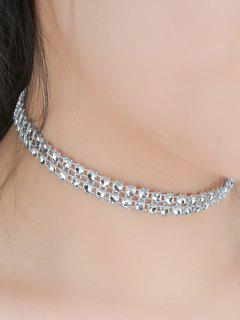 Tiered Plastic Beaded Choker - Silver