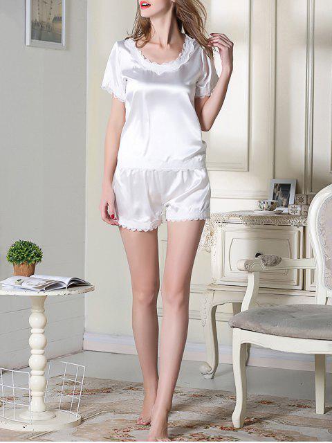 shops Satin Scoop Tee Boxer Pajama - WHITE L Mobile