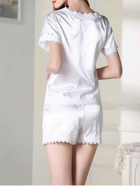latest Satin Scoop Tee Boxer Pajama - WHITE M Mobile