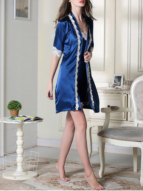 affordable Satin Slip Dress and Belted Sleepover Robe - ROYAL BLUE 2XL Mobile