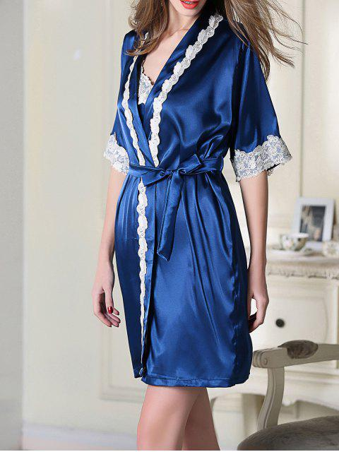 buy Satin Slip Dress and Belted Sleepover Robe - ROYAL BLUE XL Mobile