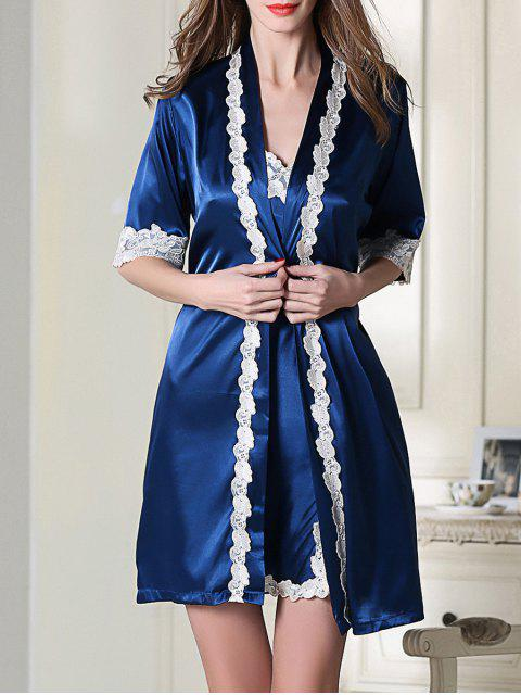 womens Satin Slip Dress and Belted Sleepover Robe - ROYAL BLUE L Mobile