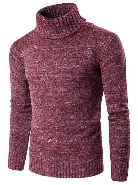 Rollkragen Knit Blends Langarm Sweater - Weinrot M Mobile
