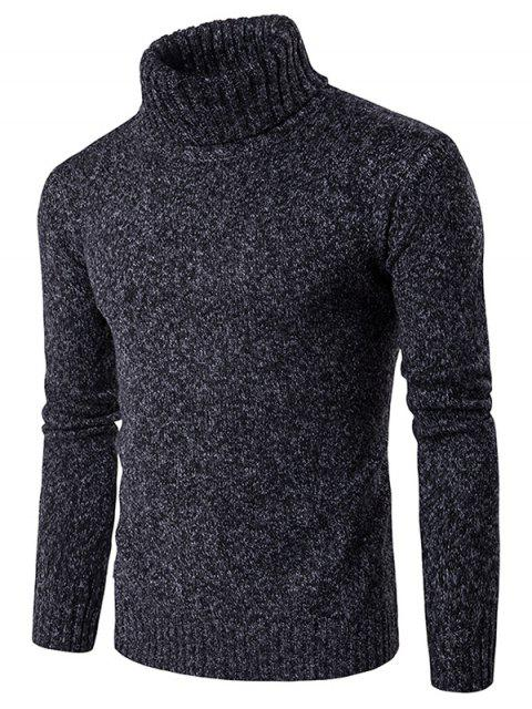 Rollkragen Knit Blends Langarm Sweater - Schwarz M Mobile
