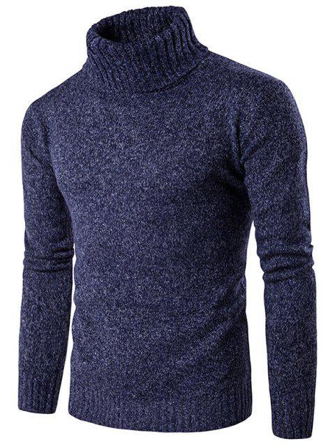 Suéter Manga Larga de Mezcla de Punto Cuello Cisne - Azul Marino  M Mobile