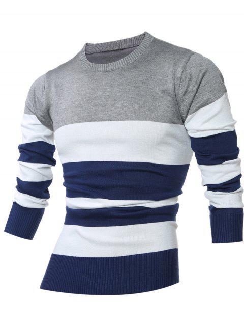 Crew Neck Color Block Stripes Sweater - Hellgrau L Mobile