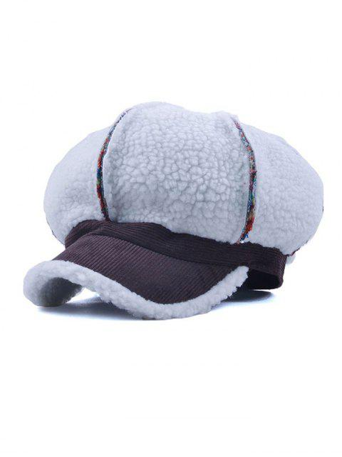 trendy Striped Flocking Curved Brim Hat - COFFEE  Mobile