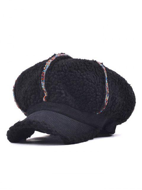 fashion Striped Flocking Curved Brim Hat - BLACK  Mobile