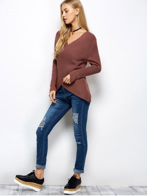 best Wrap Ribbed Sweater - RED ONE SIZE Mobile