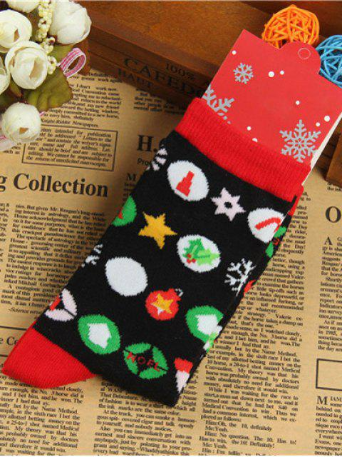 ladies Pair of Round Jacquard Christmas Knitted Socks -   Mobile