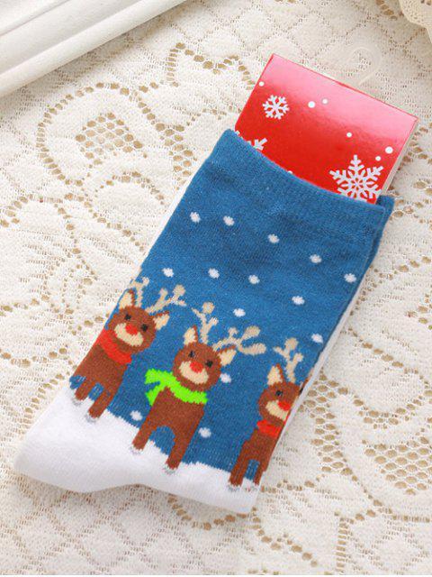 new Pair of Christmas Deer Jacquard Knitted Socks - BLUE  Mobile