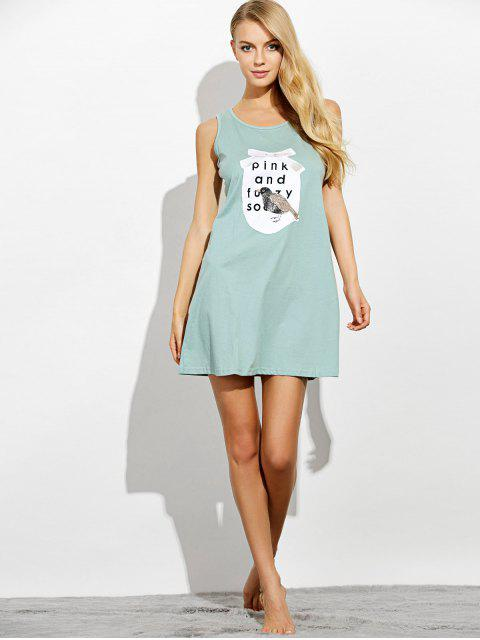 hot Letter Print Casual Night Dress - LIGHT GREEN XL Mobile