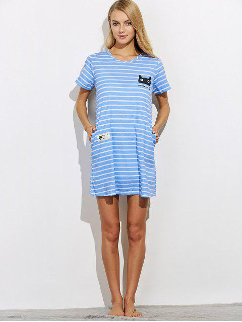 shops Casual Striped Night Dress - BLUE 2XL Mobile