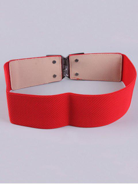 fashion Smooth Alloy Buckle Elastic Waist Belt - RED  Mobile