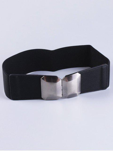 fancy Smooth Alloy Buckle Elastic Waist Belt - BLACK  Mobile