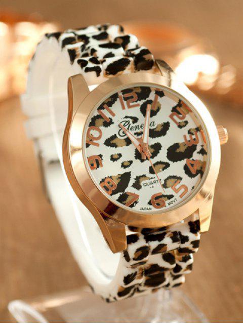 fashion Leopard Silicone Band Quartz Watch - WHITE  Mobile