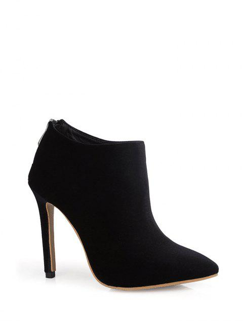 best Stiletto Heel Zipper Pointed Toe Ankle Boots - BLACK 37 Mobile