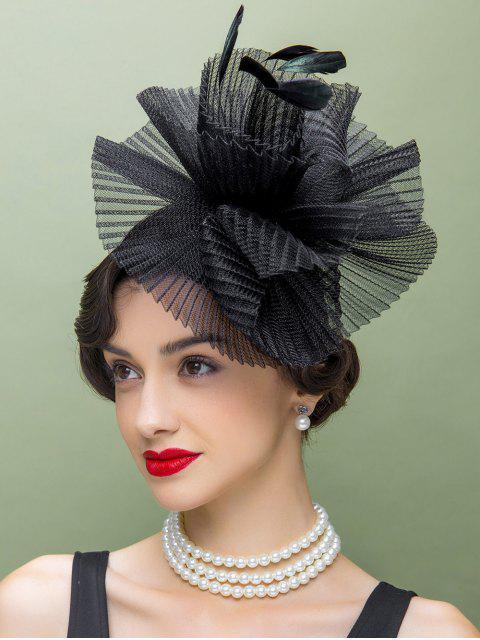 shop Feather Lace Trim Church Hat - BLACK  Mobile