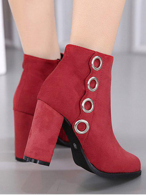 outfit Zip Chunky Heel Metal Ring Ankle Boots - RED 38 Mobile