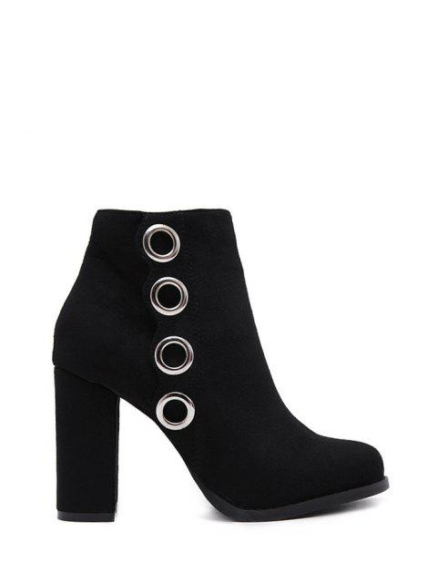 shops Zip Chunky Heel Metal Ring Ankle Boots - BLACK 38 Mobile