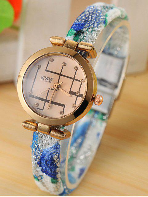 ladies Rhinestone Analog Quartz Watch - BLUE  Mobile