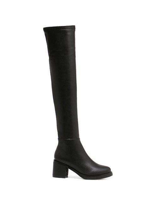fashion Platform Zipper Rpund Toe Thigh Boots - BLACK 38 Mobile