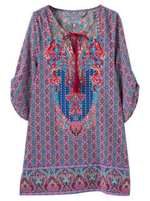 womens Retro Printed V Neck Tunic Dress - COLORMIX S Mobile