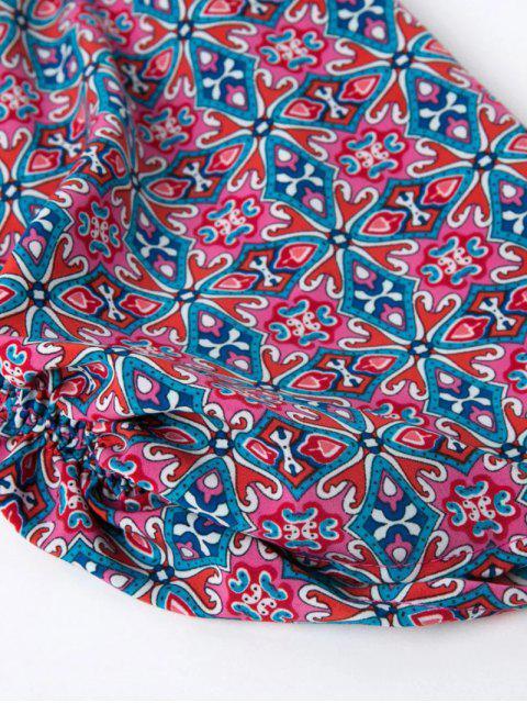 buy Retro Printed V Neck Tunic Dress - COLORMIX M Mobile