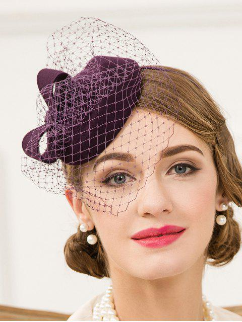 chic Veil Pillbox Hat - PURPLE  Mobile