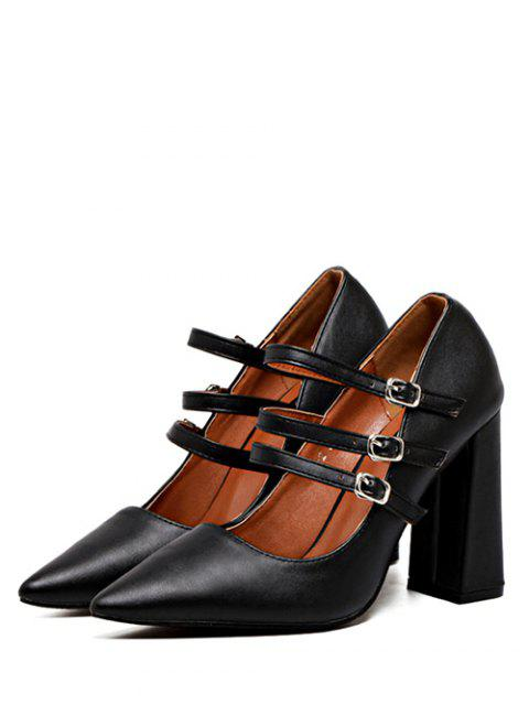 outfit Pointed Toe Chunky Heel Buckles Pumps - BLACK 37 Mobile