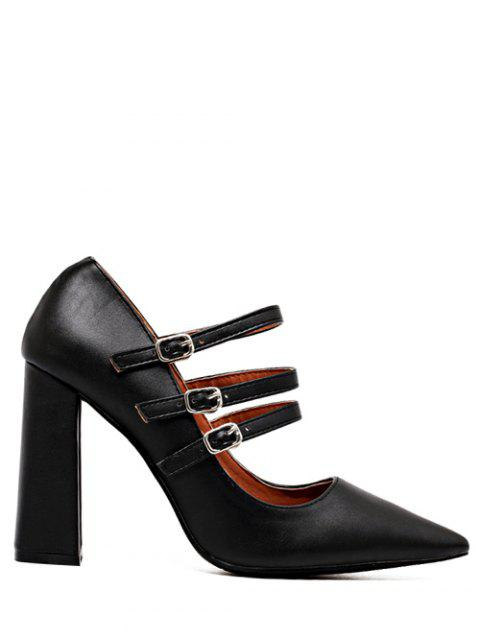 outfits Pointed Toe Chunky Heel Buckles Pumps - BLACK 38 Mobile