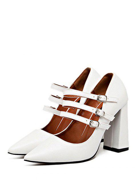 latest Pointed Toe Chunky Heel Buckles Pumps - WHITE 38 Mobile