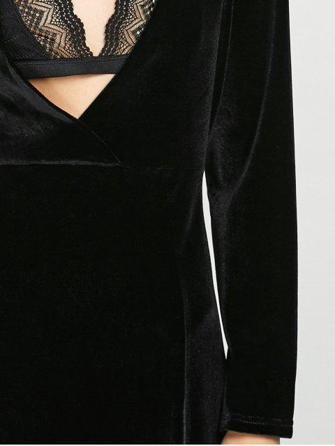 unique Long Sleeve High Slit Low Cut Maxi Dress - BLACK L Mobile
