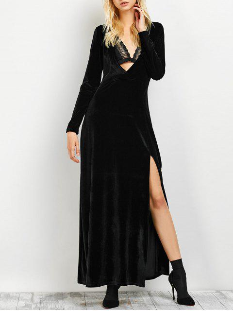 sale Long Sleeve High Slit Low Cut Maxi Dress - BLACK M Mobile