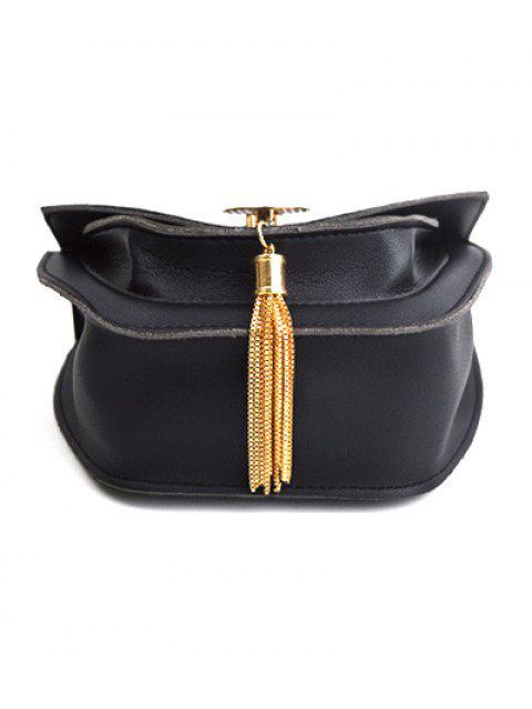 trendy Suede Panel Metallic Tassel Crossbody Bag - BLACK  Mobile