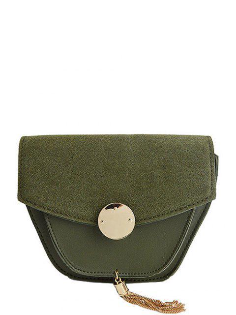 fashion Suede Panel Metallic Tassel Crossbody Bag - GREEN  Mobile