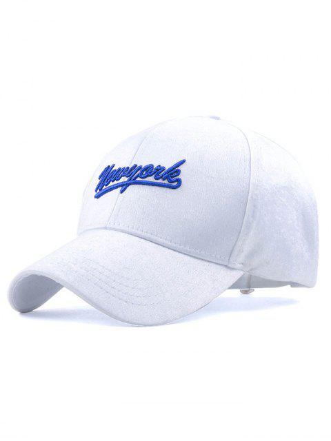 sale Newyork Embroidery Plush Baseball Hat - WHITE  Mobile