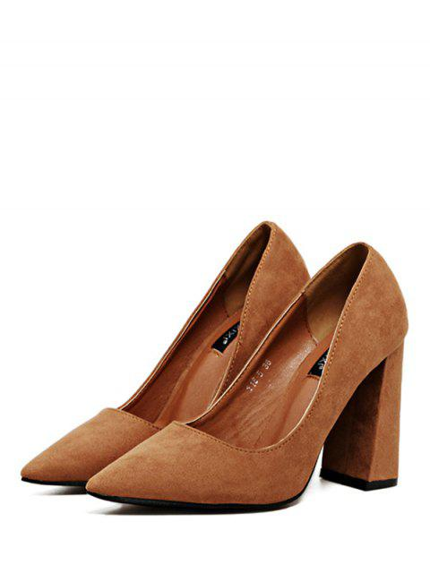 trendy Suede Pointed Toe Chunky Heel Pumps - BROWN 39 Mobile